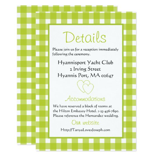 Rustic Wedding Details Gingham Green Plaid Party Card
