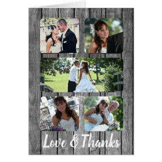 Rustic Wedding Five Photo Thank You Collage Card