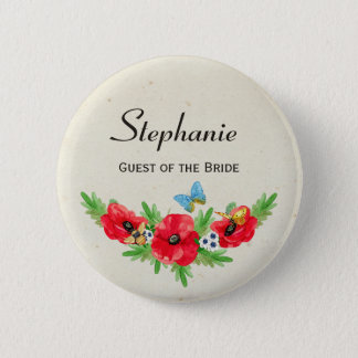 Rustic Wedding Guest Red Poppy Watercolor and Name 2 Inch Round Button