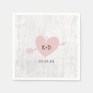 Rustic Wedding Heart & Arrow White Barn Wood Disposable Napkins