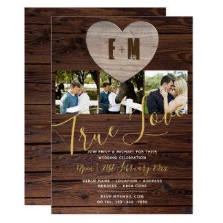 Rustic Wedding Invitations Photo Monogram Elegant