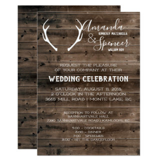 Rustic Wedding Invite - Dark Barnwood and Antler