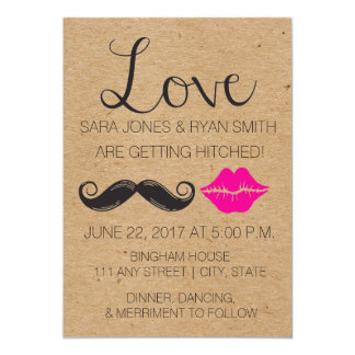 Rustic Wedding Invite with Mustache and Lips