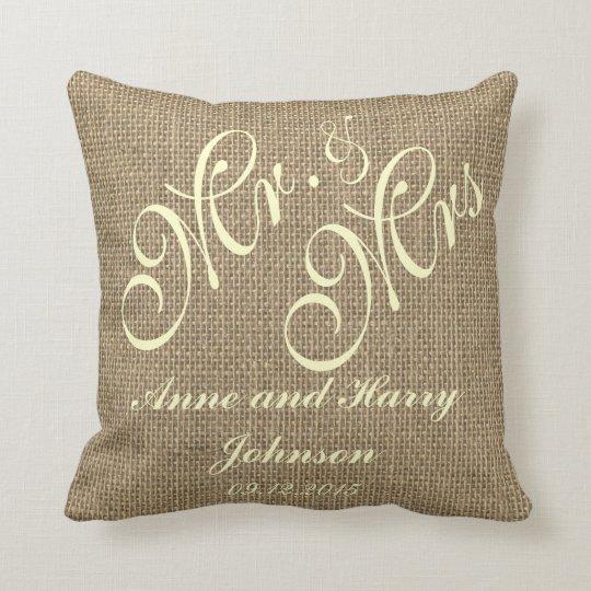 Rustic Wedding Keepsake Throw Pillow Monogram