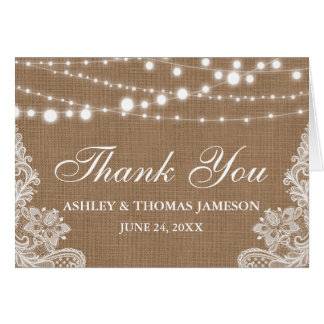 Rustic Wedding Lace Burlap Thank You Notecard