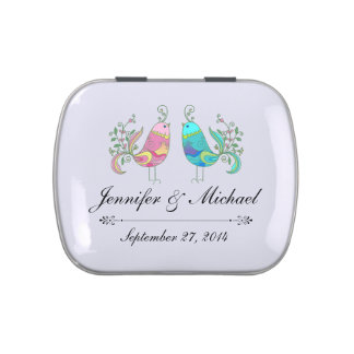 Rustic Wedding Lovebirds Candy Favor Tins
