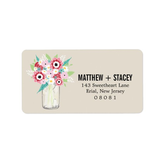 Rustic Wedding Mason Jar and Floral Label