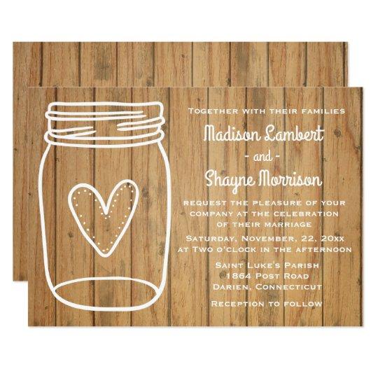 Rustic Wedding Mason Jar Brown Wood Country Heart Card