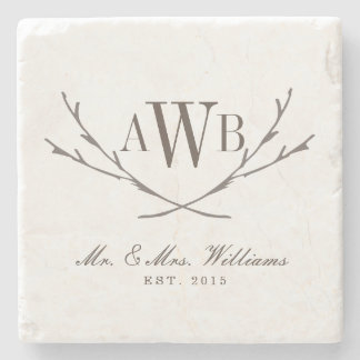 Rustic Wedding Monogram Coasters Stone Beverage Coaster
