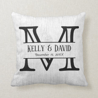 Rustic Wedding Monogram Elegant White Wood Throw Pillow
