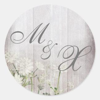 Rustic Wedding Monogram Sticker