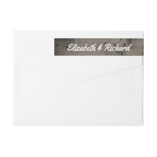 Rustic Wedding Monogram Weathered Barn Wood Wrap Around Label
