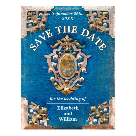 Rustic Wedding | Old Book | Vintage Save The Date Postcard