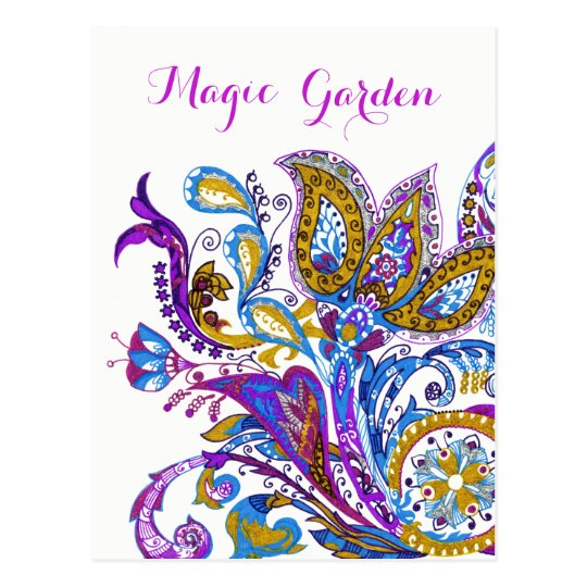 Rustic  wedding ornament. Stylish paisley design Postcard
