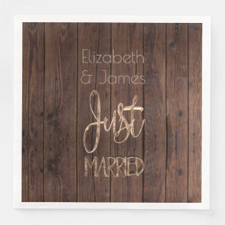 Rustic Wedding Party Brown Country Just Married Disposable Napkin