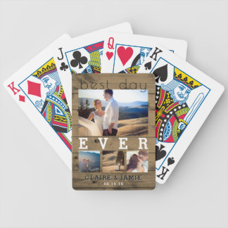 Rustic Wedding Photo Collage Best Day Ever Bicycle Playing Cards