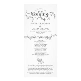 Rustic Wedding program card in calligraphy design