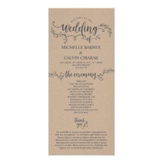 Rustic Wedding program card in kraft background