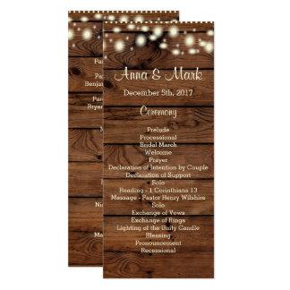 "Rustic Wedding Program, Wedding Program, Rustic Ra 4"" X 9.25"" Invitation Card"