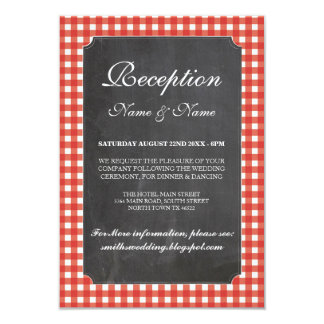 Rustic Wedding Reception Cards Red Check Chalk