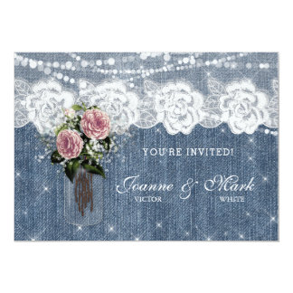 Rustic Wedding Rose Baby's Breath Flower Lace Card