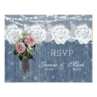 Rustic Wedding Rose Baby's Breath Flower RSVP Card