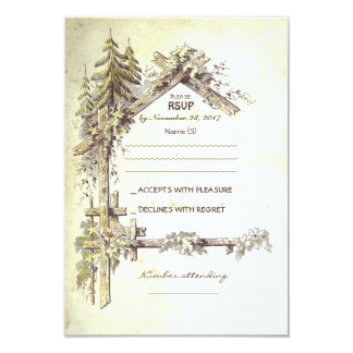 "Rustic Wedding RSVP Cards 3.5"" X 5"" Invitation Card"