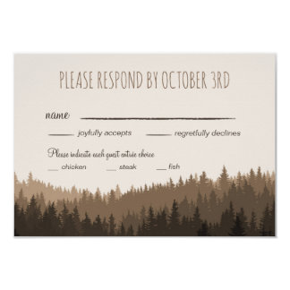 """Rustic Wedding RSVP in the Mountains with dinner 3.5"""" X 5"""" Invitation Card"""