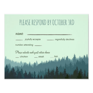 Rustic Wedding RSVP with dinner, number attending Card