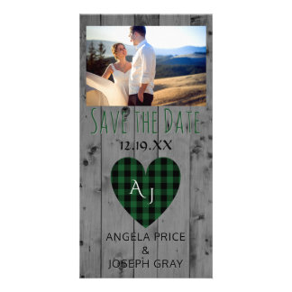 Rustic Wedding Save the Date Plaid Heart Wood Customized Photo Card