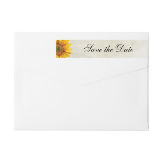 Rustic wedding Sunflower save the date Return Wrap Around Label