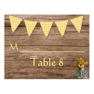 Rustic wedding sunflower table number postcard