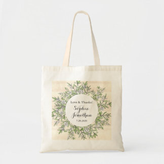 Rustic Wedding Thank You Personalized Botanical Tote Bag