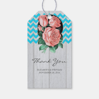 Rustic Wedding Thank You - Turquoise and Coral Gift Tags