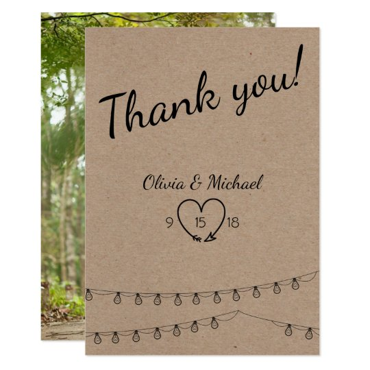 Rustic Wedding Thank You with lights on kraft Card