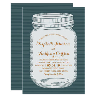 Rustic Wedding Vintage Blue Country Mason Jar Card