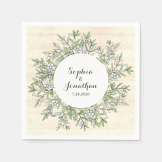 Rustic Wedding Vintage Floral Botanical Wreath Disposable Napkins