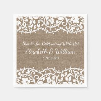 Rustic Wedding VIntage Lace, Burlap Linen Custom Disposable Napkin