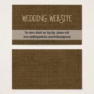 Rustic Wedding Website Card | Burlap Brown