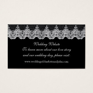 Rustic Wedding Website Royal White  Lace Black Business Card