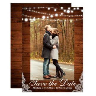 Rustic Wedding Wood Lace Lights Save the Date Card