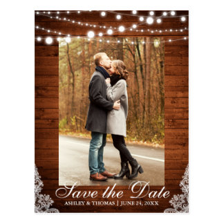 Rustic Wedding Wood Lace Lights Save the Date Postcard