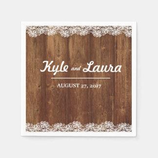 Rustic Wedding Wood Lace Napkin Disposable Napkins