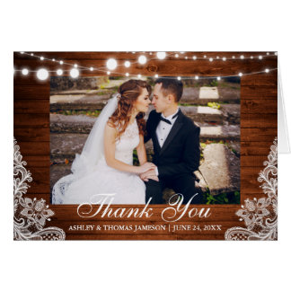 Rustic Wedding Wood Lights Lace Thank You Notecard