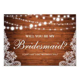 Rustic Wedding Wood String Lights Lace Bridesmaid Card