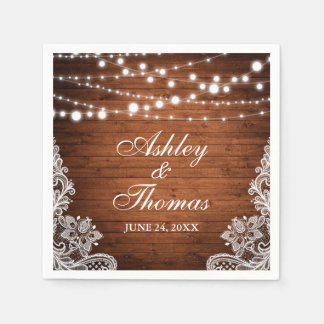 Rustic Wedding Wood String Lights Lace Paper Napkins