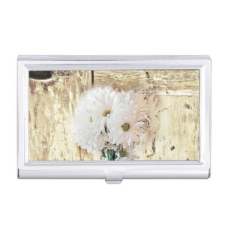 rustic western barn wood mason jar white daisy business card holder