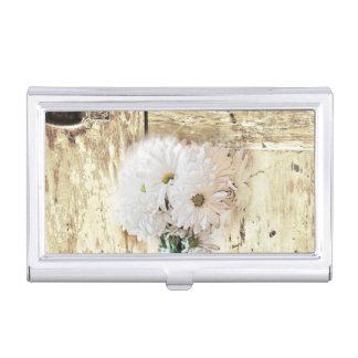 rustic western barn wood mason jar white daisy case for business cards