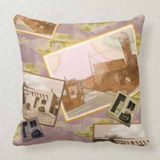 Rustic Western Building Montage Throw Pillow