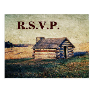 rustic western cottage country wedding rsvp postcard